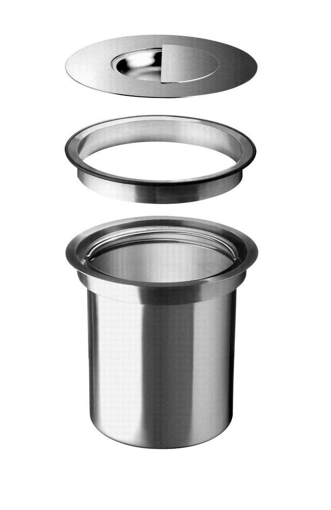 Premium Stainless Steel Waste Collection Bin, Inset Installation