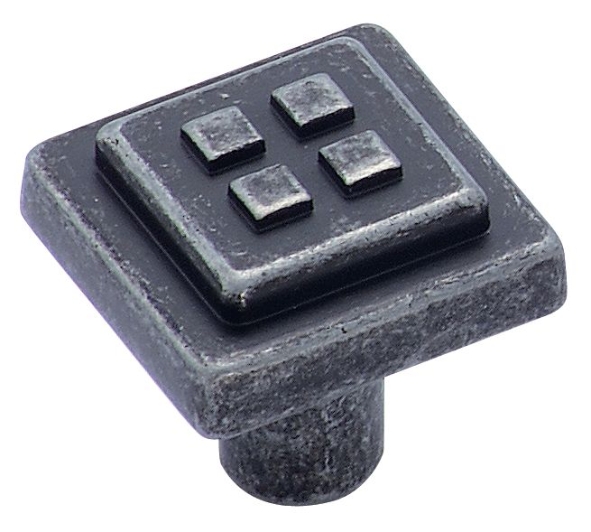 Bouton carré Diamètre de 1 1/8 po SQ FORGINGS� Collection-FINI FER FORGÉ FONCÉ