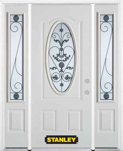 68-inch x 82-inch Blacksmith Oval 3/4-Lite White Steel Entry Door with Sidelites and Brickmould