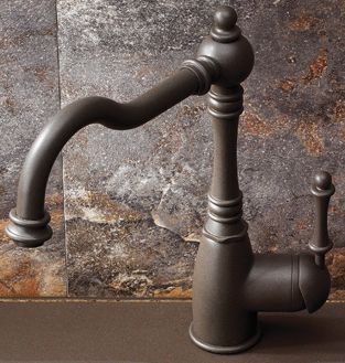 Victorian Single Lever Kitchen Faucet With Side Spray, Bronzed Café