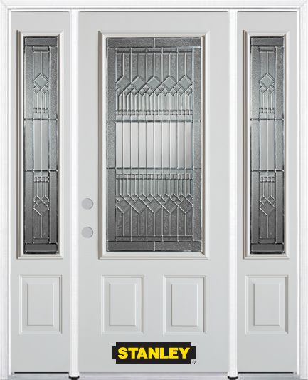 68 In X 82 In 3 4 Lite 2 Panel Pre Finished White Steel Entry Door With Sidelites And