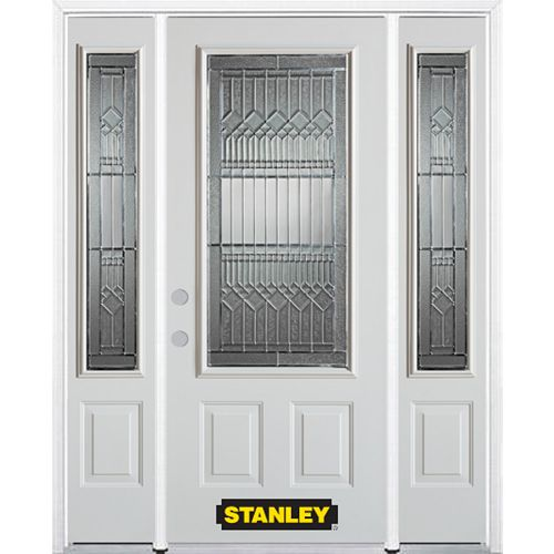 STANLEY Doors 68.5 inch x 82.375 inch Lanza Patina 3/4 Lite 2-Panel Prefinished White Right-Hand Inswing Steel Prehung Front Door with Sidelites and Brickmould