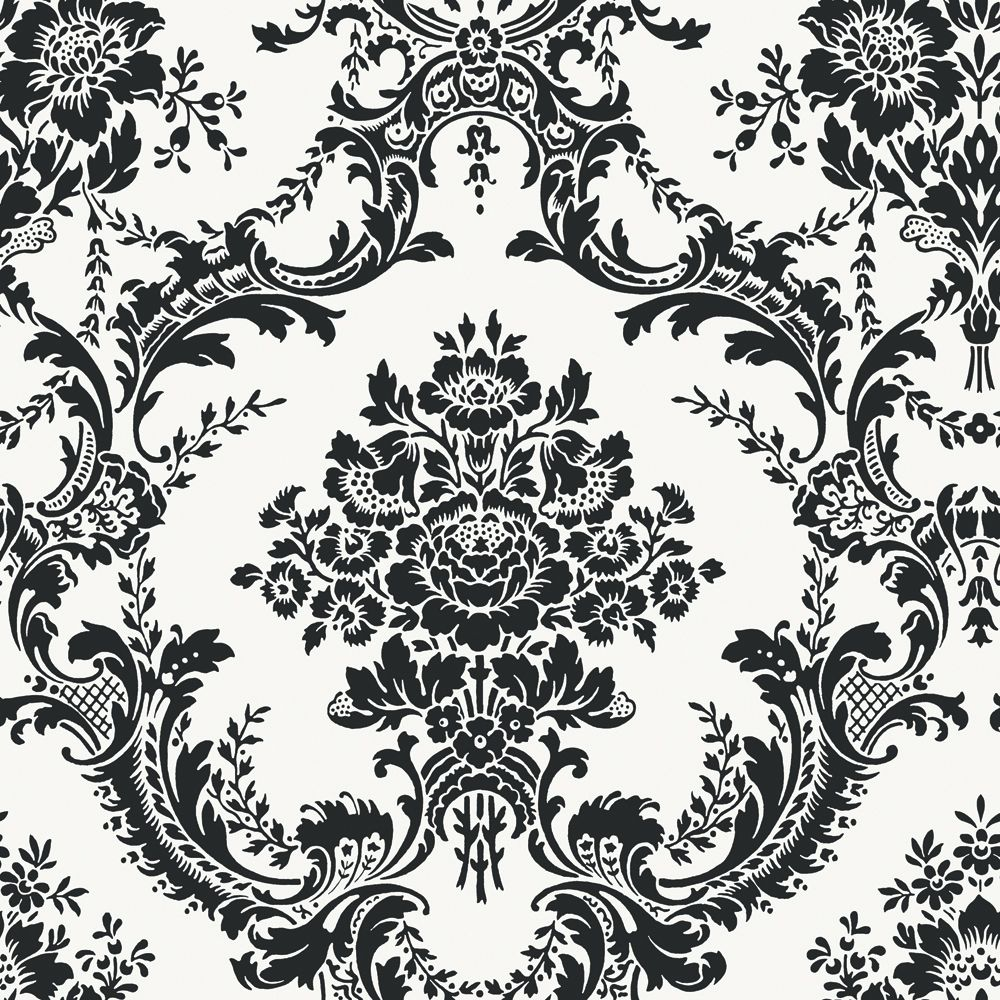 20.5 In. W Black and White Mid Scale Damask Wallpaper