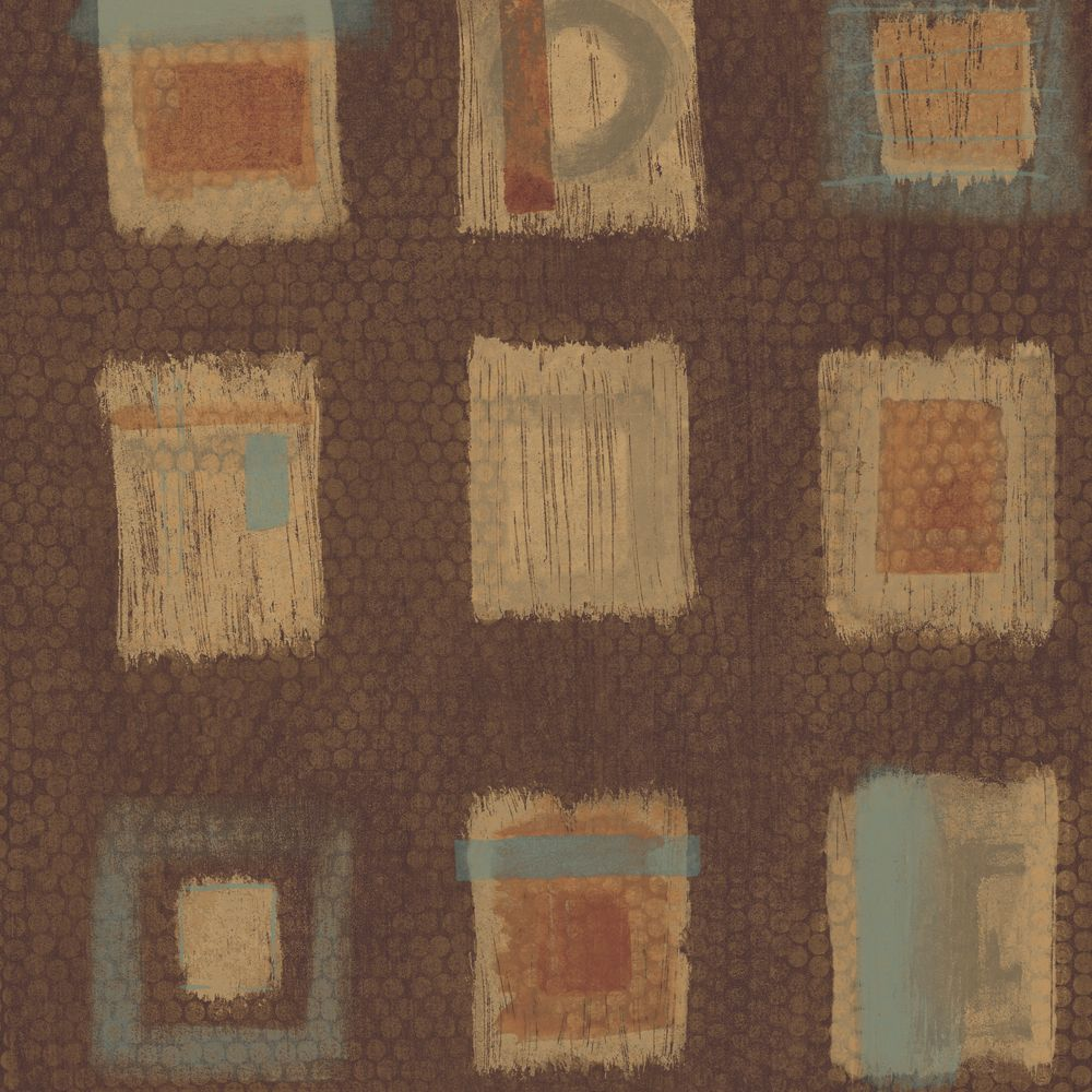 20.5 In. W Brown Free Form Squares on a Geotextural Ground Wallpaper