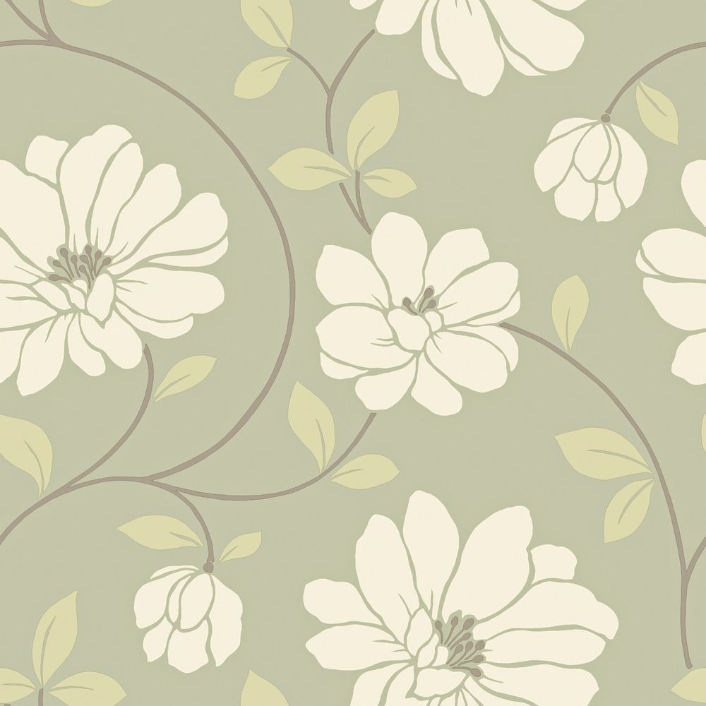20.5 In. W Sage Large Scale Modern Floral Trail Wallpaper WC1280621 in Canada