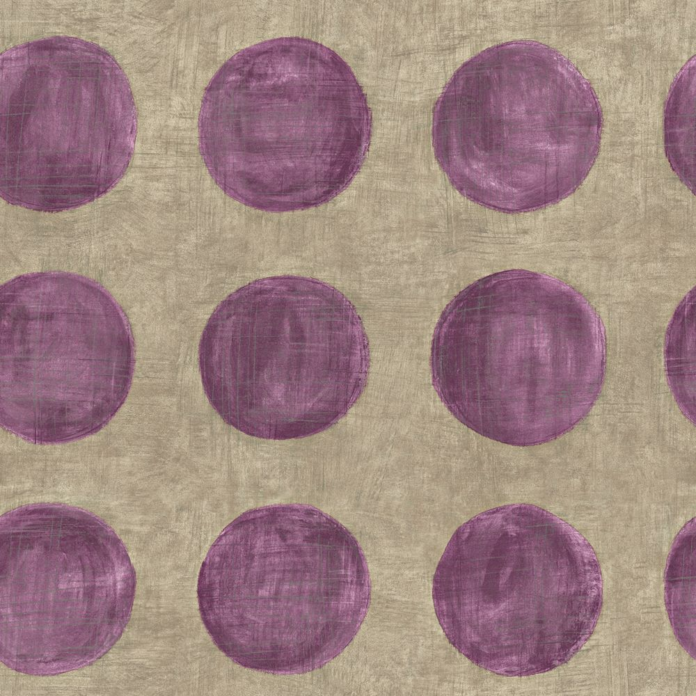 The wallpaper company 20 5 in w purple large polka dot on for Purple and grey wallpaper