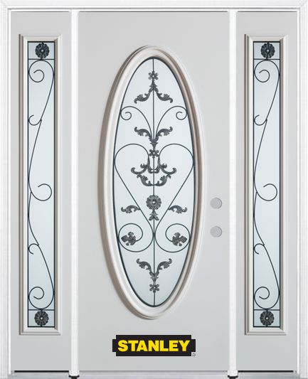 66-inch x 82-inch Blacksmith Full Oval Lite White Steel Entry Door with Sidelites and Brickmould