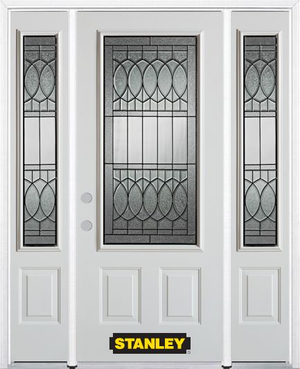 64-inch x 82-inch Nightingale 3/4-Lite 2-Panel White Steel Entry Door with Sidelites and Brickmou...
