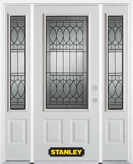 66-inch x 82-inch Nightingale 3/4-Lite 2-Panel White Steel Entry Door with Sidelites and Brickmou...