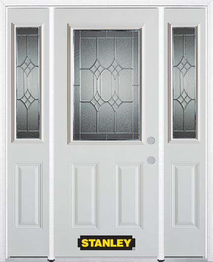 66-inch x 82-inch Orleans 1/2-Lite 2-Panel White Steel Entry Door with Sidelites and Brickmould