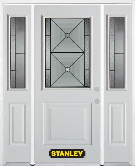 64-inch x 82-inch Bellochio 1/2-Lite 1-Panel White Steel Entry Door with Sidelites and Brickmould