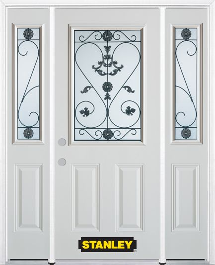 64-inch x 82-inch Blacksmith 1/2-Lite 2-Panel White Steel Entry Door with Sidelites and Brickmoul...