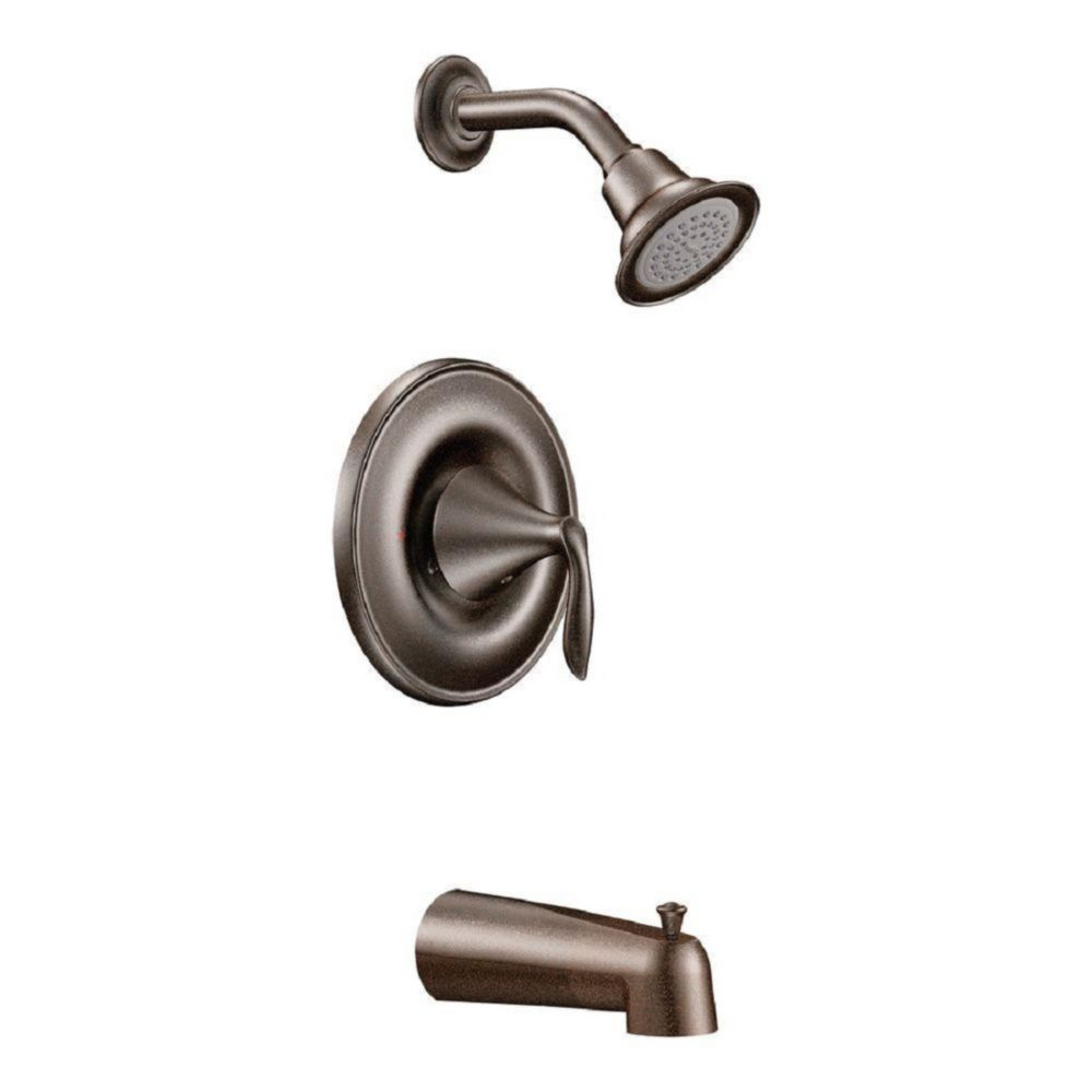 Moen Eva Single-Handle 1-Spray Tub and Shower Faucet Trim Kit with Valve in Oil Rubbed Bronze