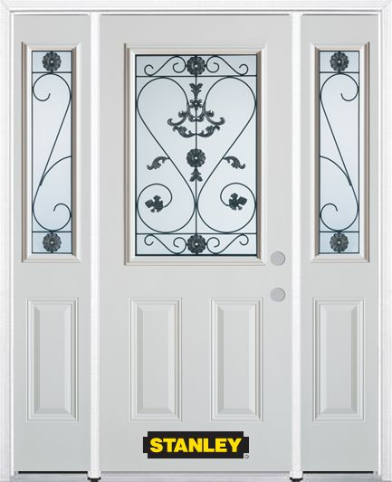 68-inch x 82-inch Blacksmith 1/2-Lite 2-Panel White Steel Entry Door with Sidelites and Brickmoul...