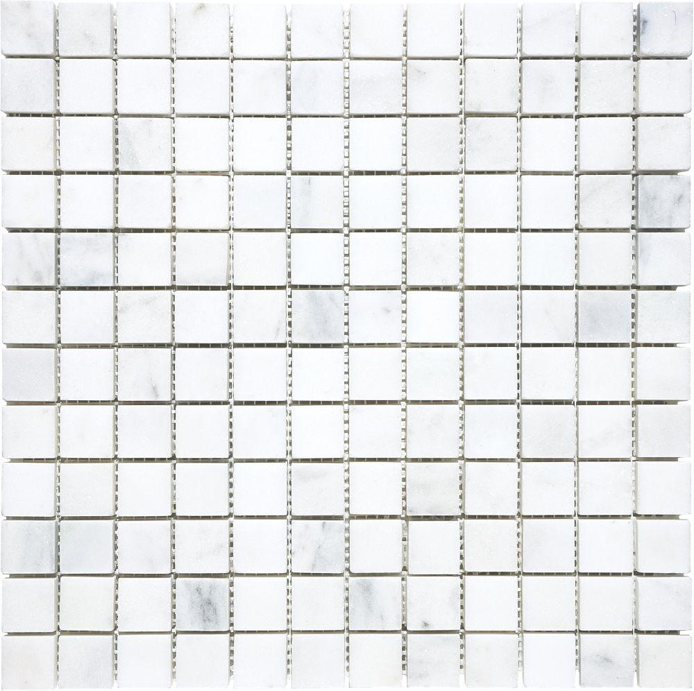 1-Inch x 1-Inch Polished Bianco Venatino Mosaic Tile
