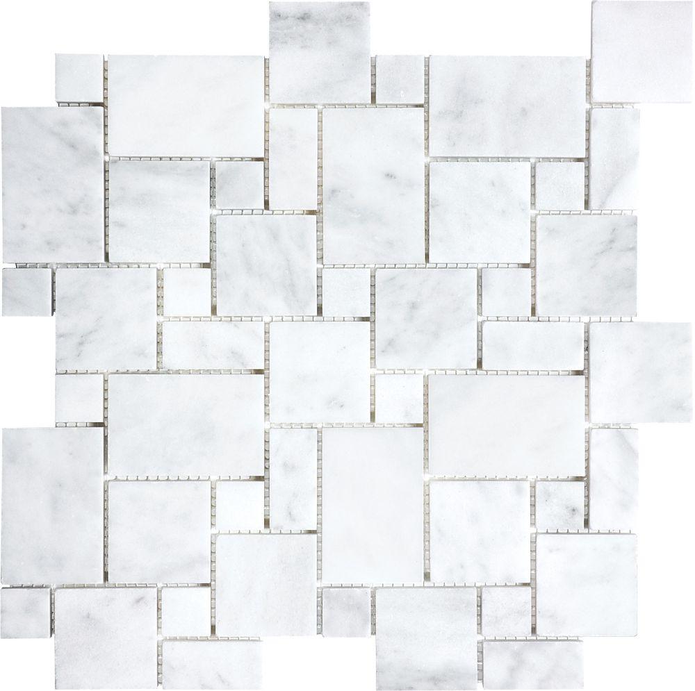 Polished Bianco Venatino Mini Versailles Mosaic Tile