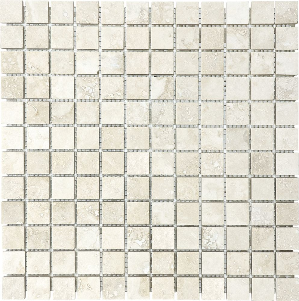 1-Inch x 1-Inch Filled and Honed Mosaic Tile in Ivory Travertine
