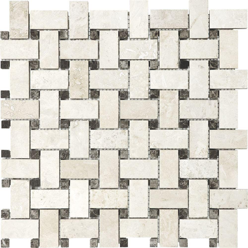 Filled & Honed Ivory Travertine Basketweave Mosaics
