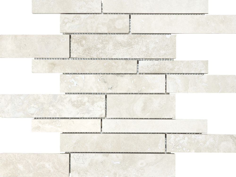 Filled and Honed Random Strip Mosaic Tile in Ivory Travertine