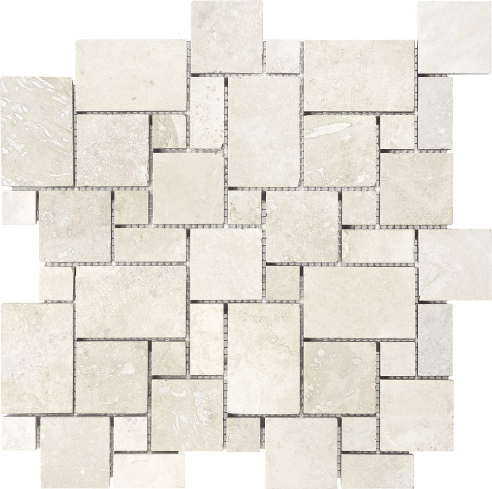 Filled & Honed Ivory Travertine Mini Versailles Mosaics