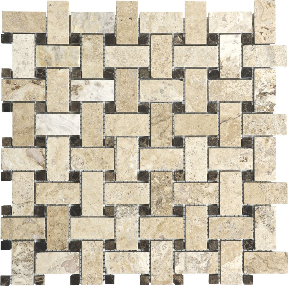 Filled and Honed Picasso Basketweave Mosaic Tile
