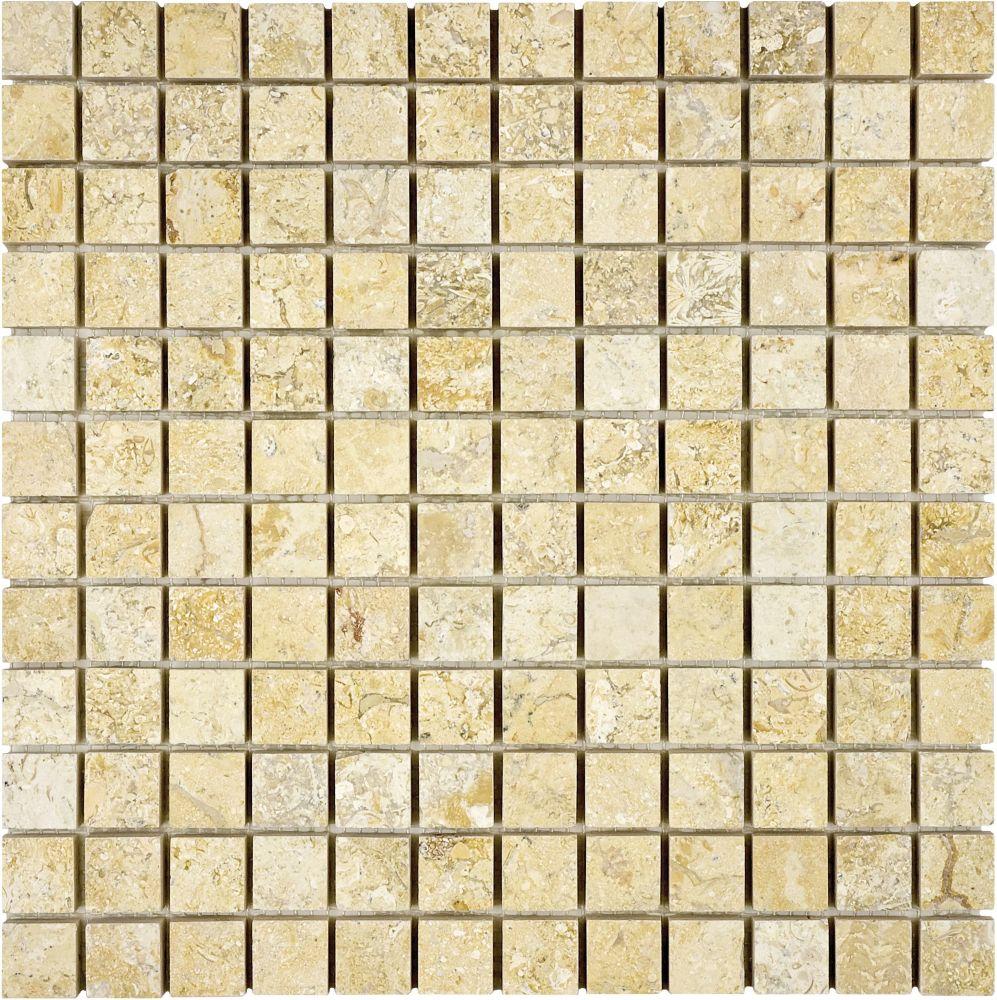 1-Inch x 1-Inch Honed Sahara Gold Mosaic Tile