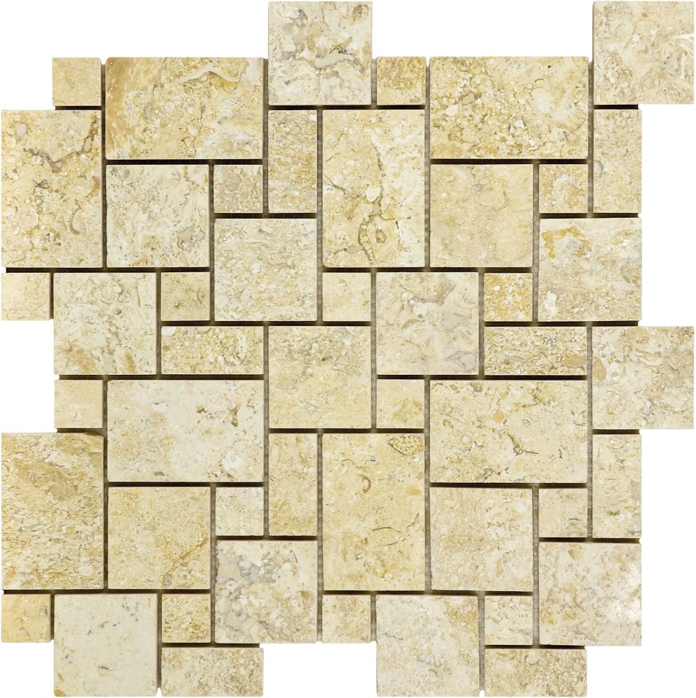 Honed Sahara Gold Mini Versailles Mosaics