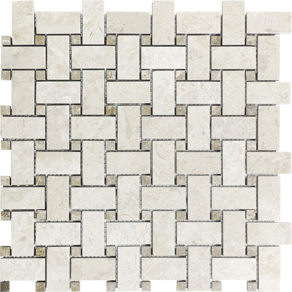 Honed Berkshire Crema Basketweave Mosaic Tile