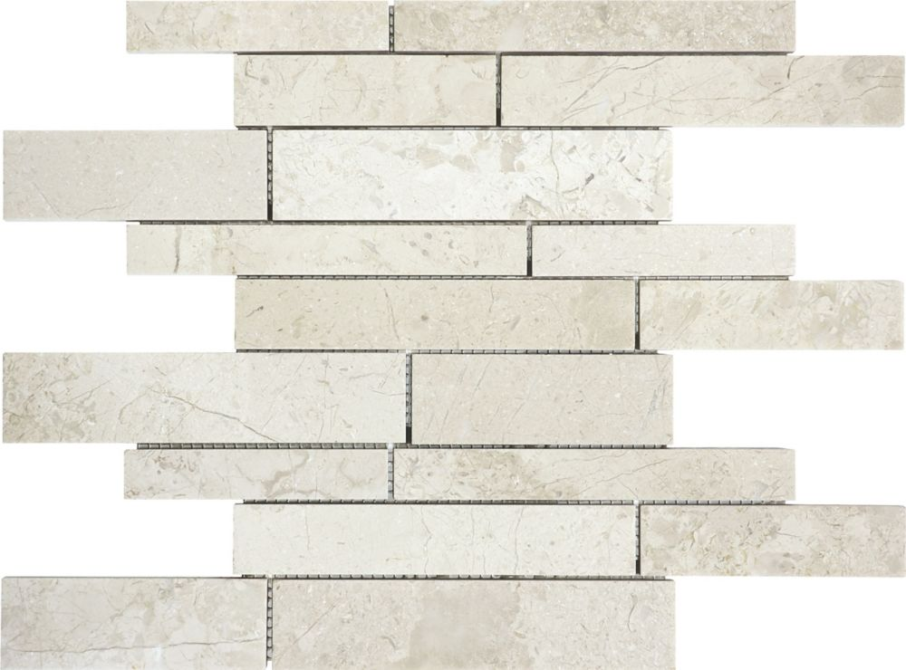 Honed Berkshire Crema Random Strip Mosaics