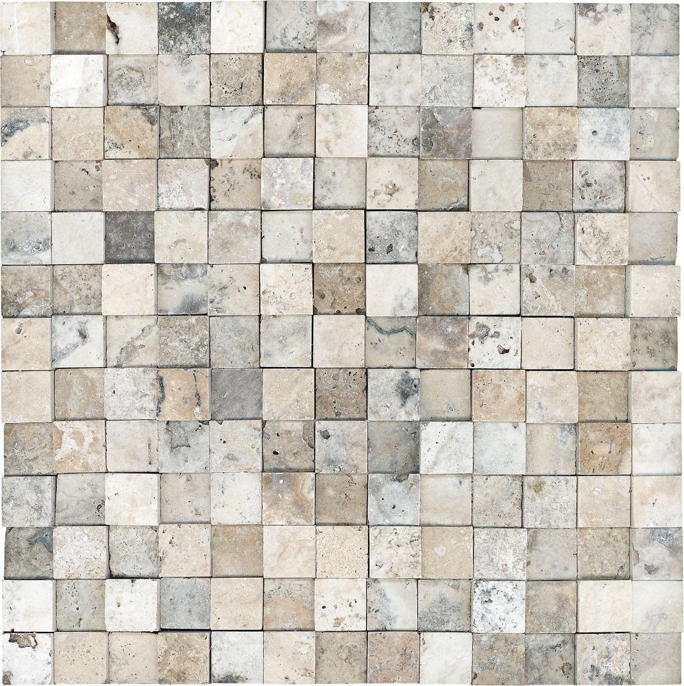 1-Inch x 2-Inch Honed Cubics Picasso Travertine Mosaic Tile