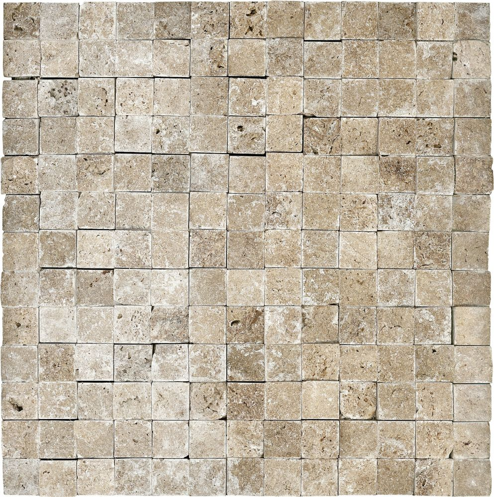 Split Face Noce Travertine Mosaics - 1 Inch x 1 Inch