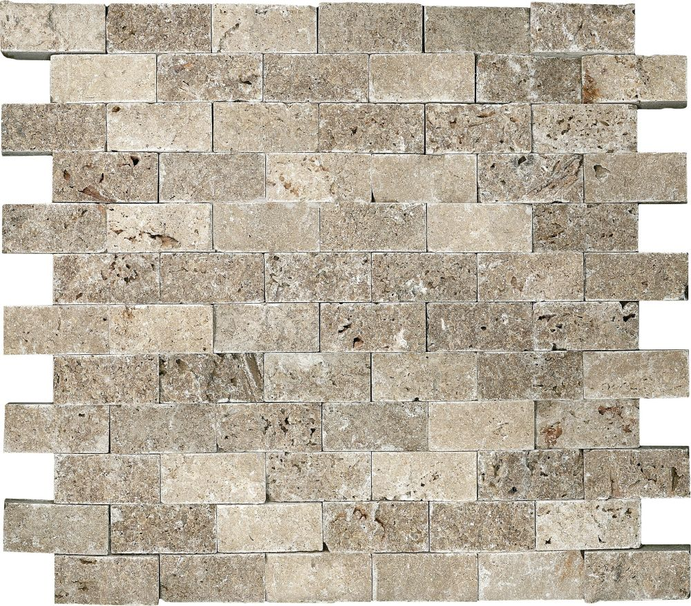 Split Face Noce Travertine Mosaics - 1 Inch x2 Inches