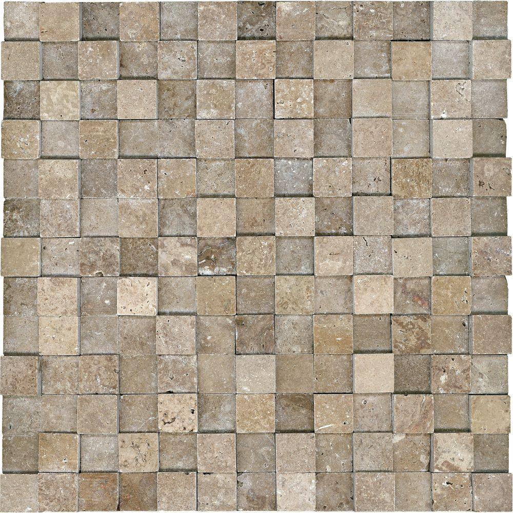 1-Inch x 1-Inch Honed Cubics Noce Travertine Mosaic Tile