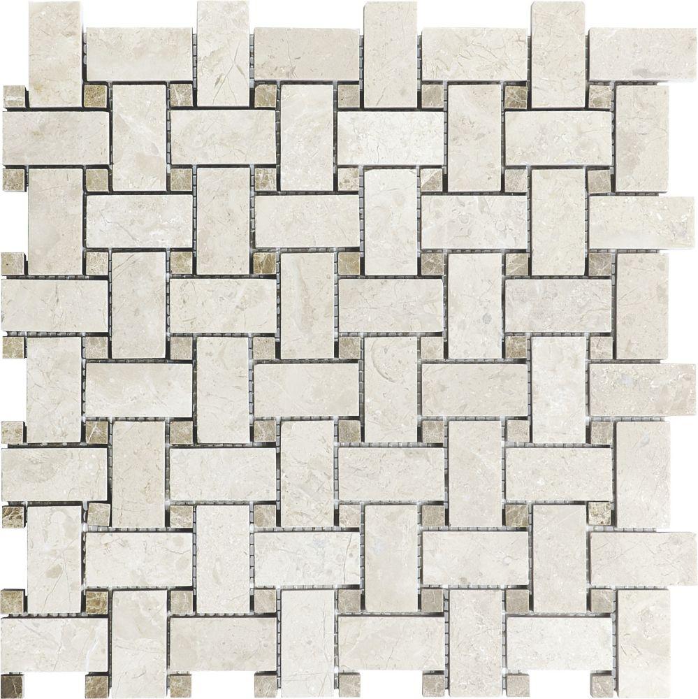 Polished Berkshire Crema Basketweave Mosaics
