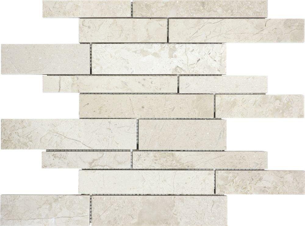 Random Strip Polished Berkshire Crema Mosaic Tile