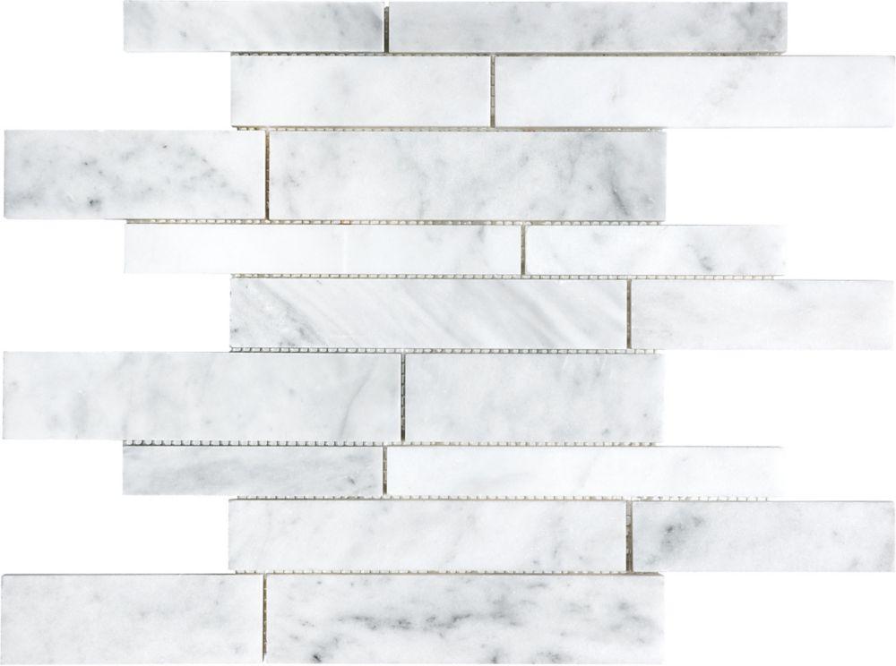 Random Strip Honed Bianco Venatino Mosaic Tile