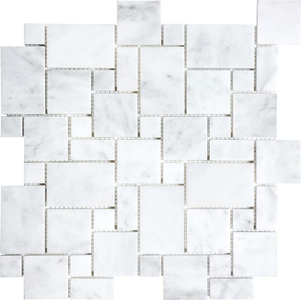Honed Bianco Venatino Mini Versailles Mosaic Tile