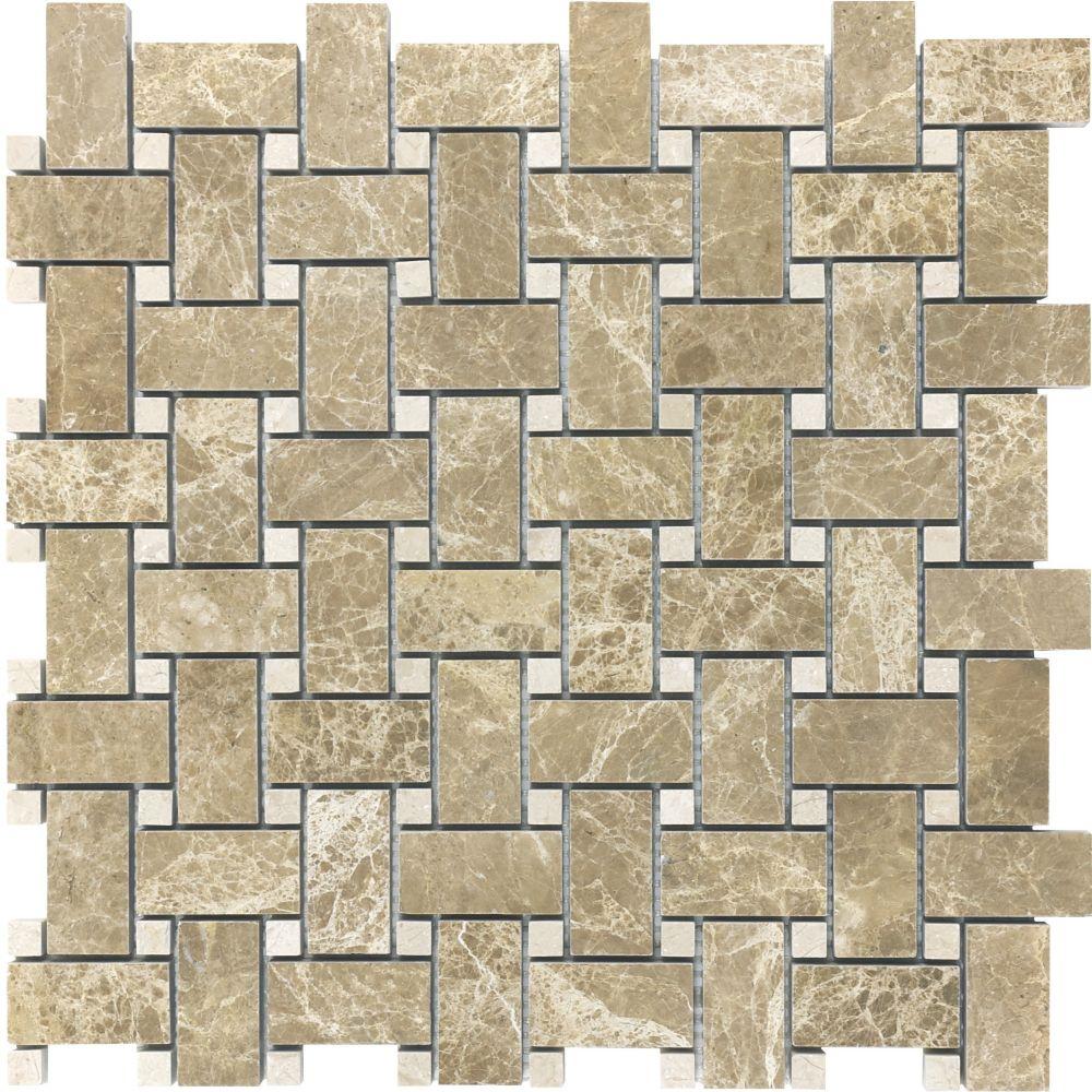 Polished Emperador Light Basketweave Mosaic Tile