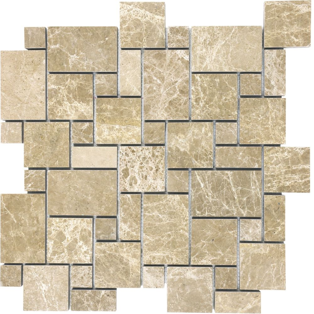 Polished Emperador Light Mini Versailles Mosaic Tile
