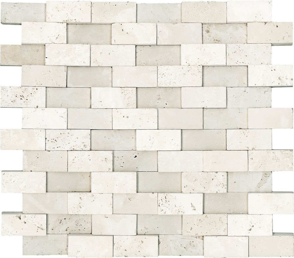 1-Inch x 2-Inch Honed Cubics Mosaic Tile in Ivory Travertine