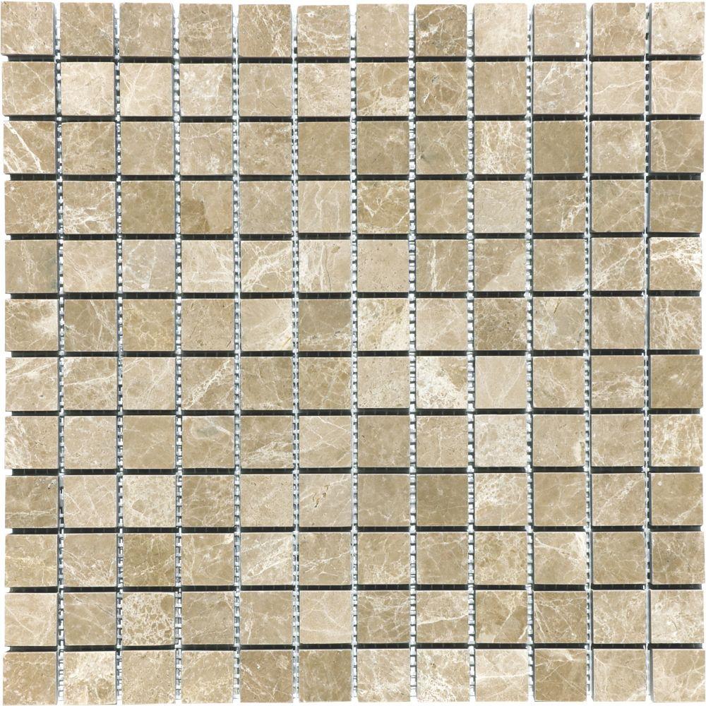1-Inch x 1-Inch Honed Emperador Light Mosaic Tile