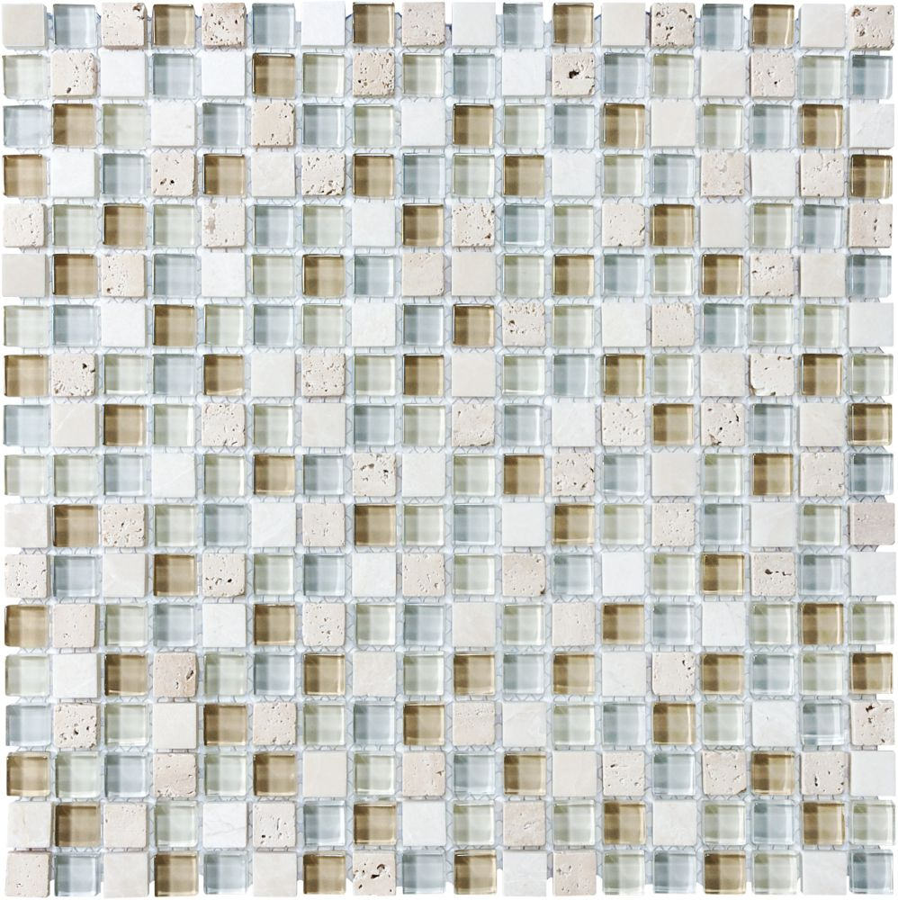Mosaïques en mélange de verre et de pierre Spa de 5/8 po × 5/8po