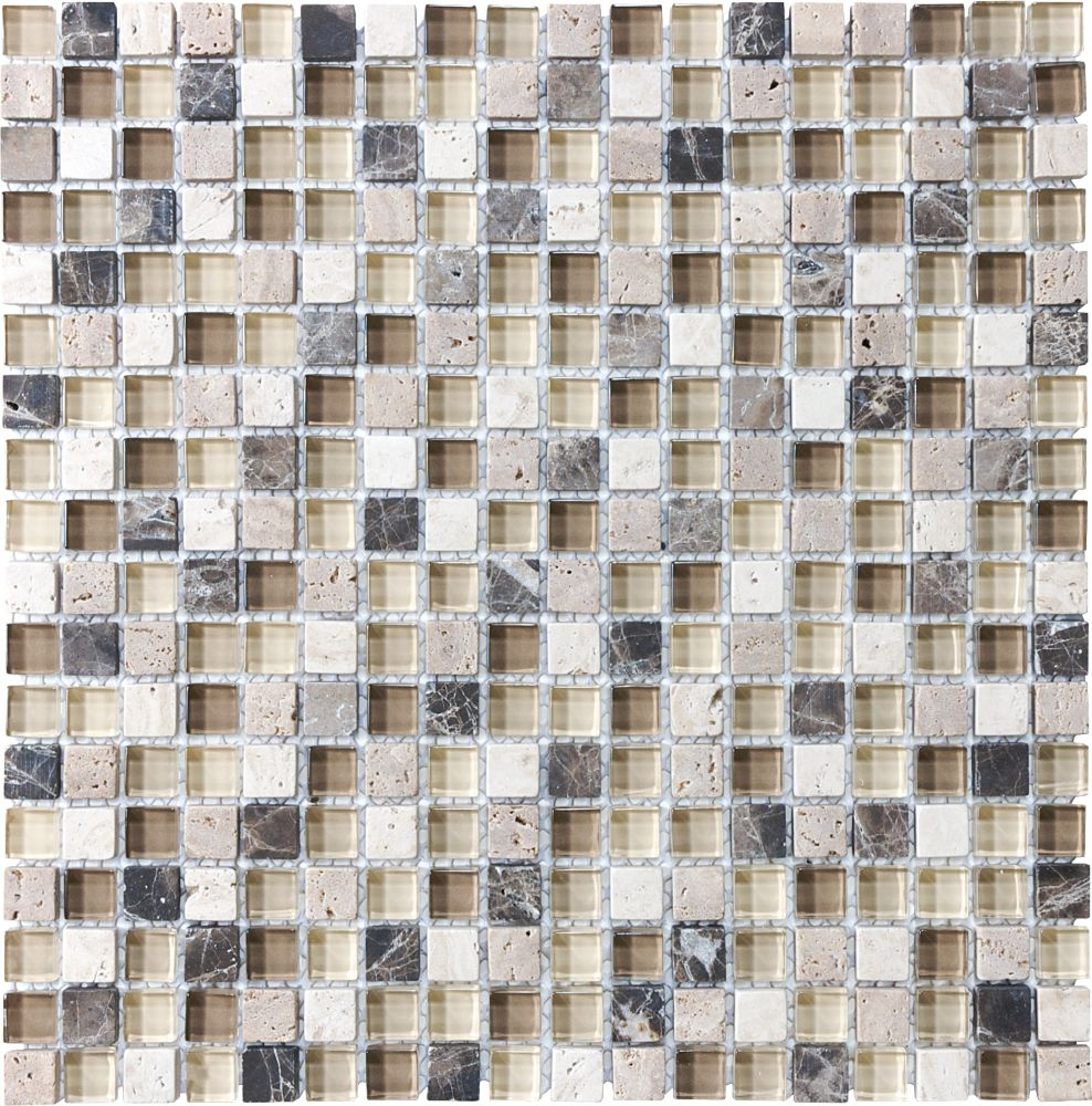 5/8-Inch x 5/8-Inch Glass Stone Blend Mosaic Tile in Cappuccino
