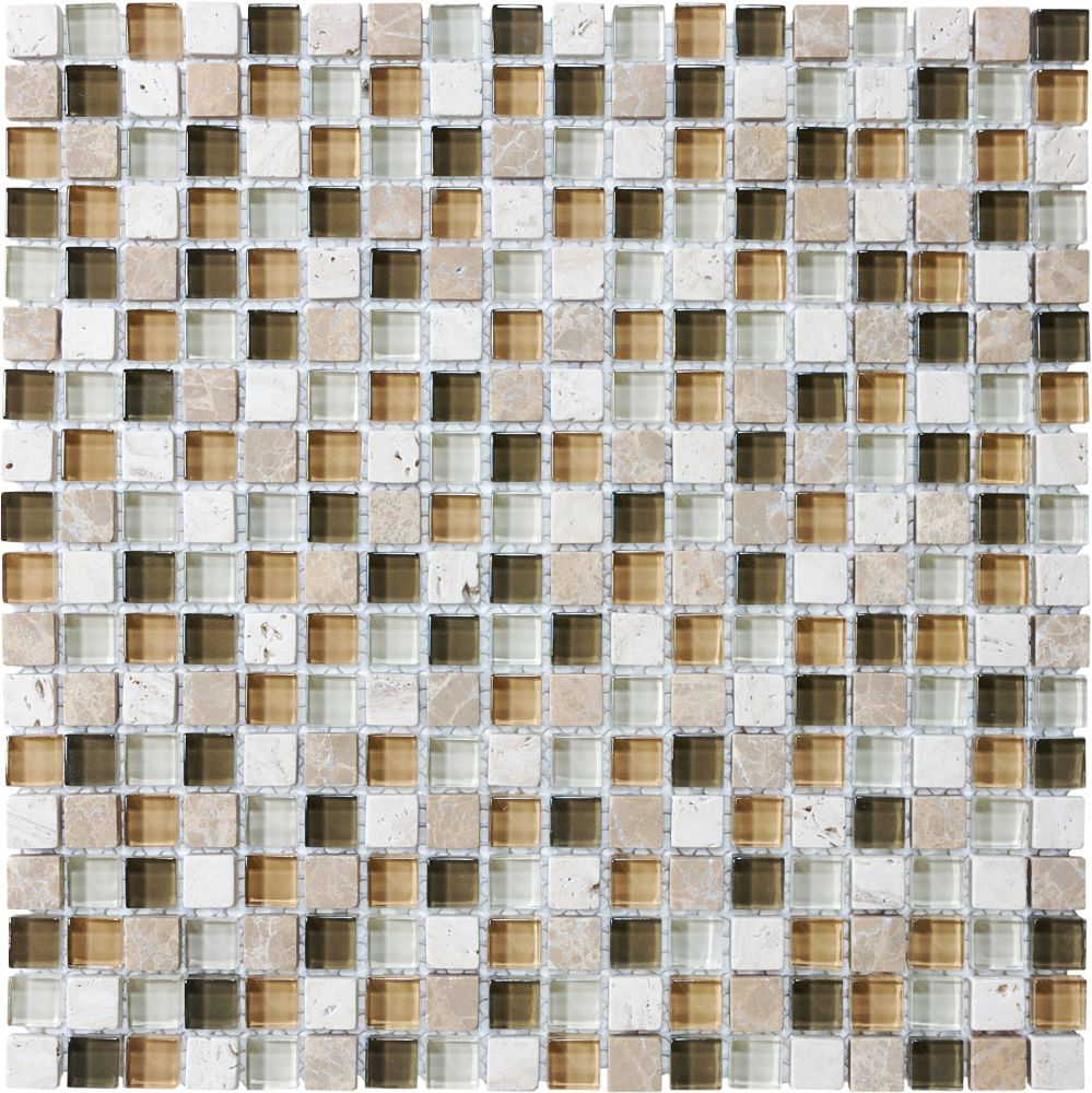 5/8-Inch x 5/8-Inch Glass Stone Blend Mosaic Tile in Bamboo