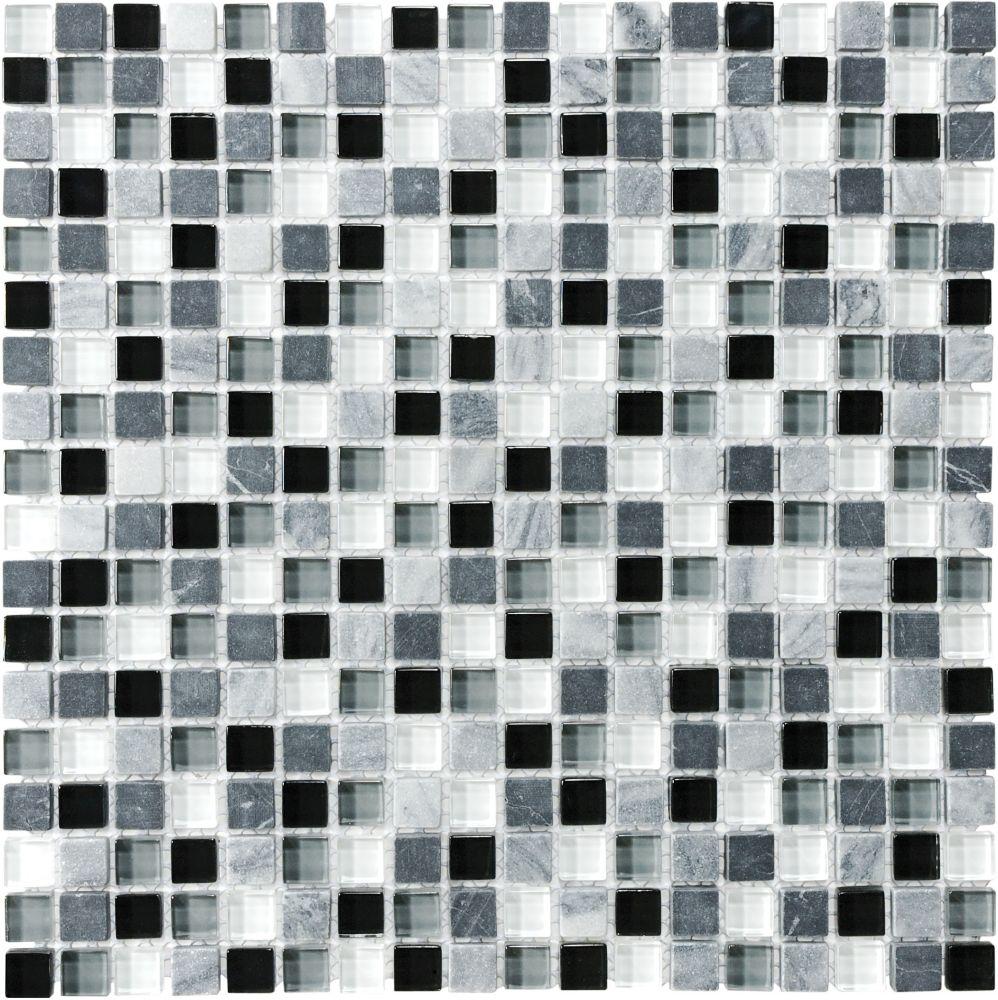 Mosaïques en mélange de verre et de pierre Midnight de 5/8 po × 5/8po