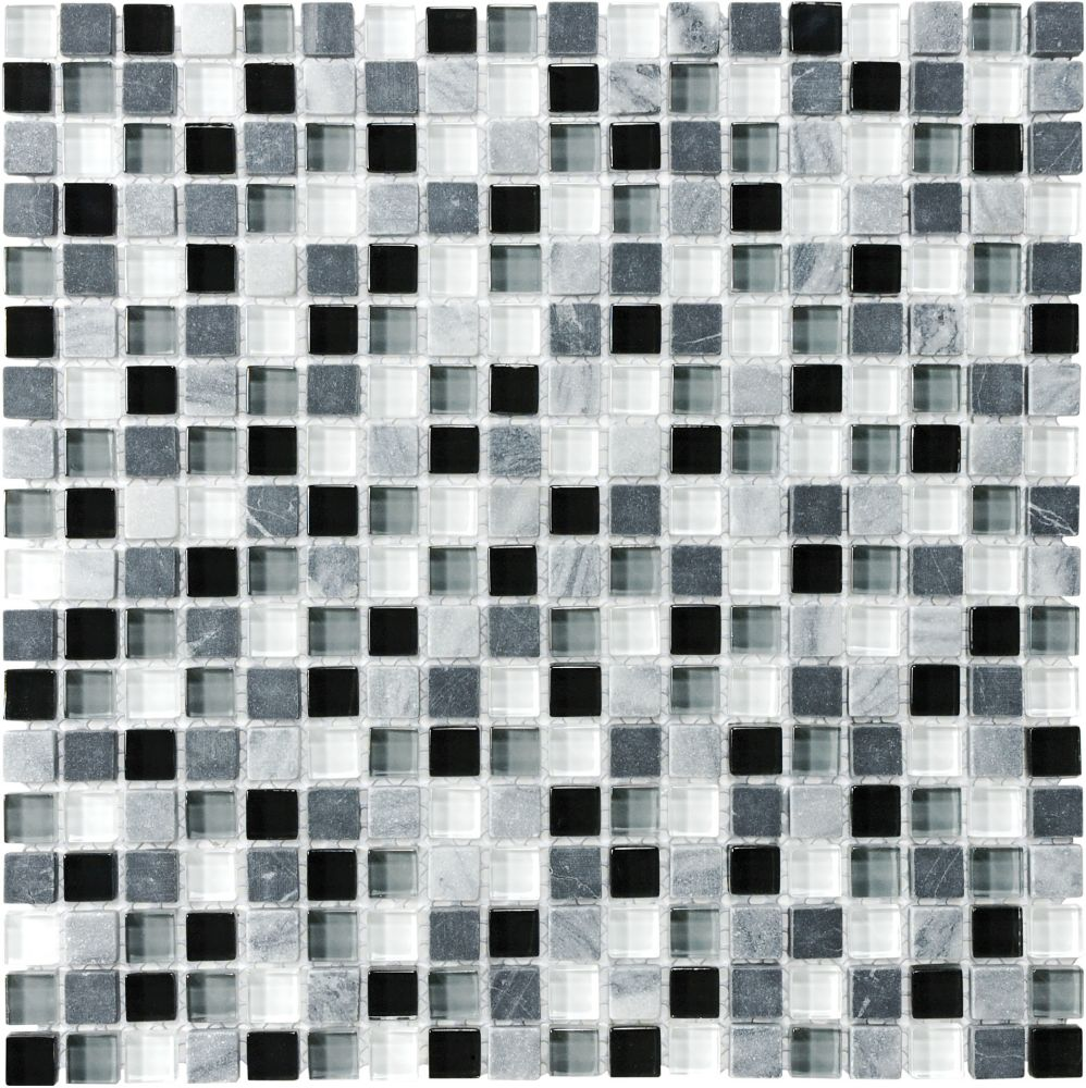 5/8-Inch x 5/8-Inch Glass Stone Blend Mosaic Tile in Midnight