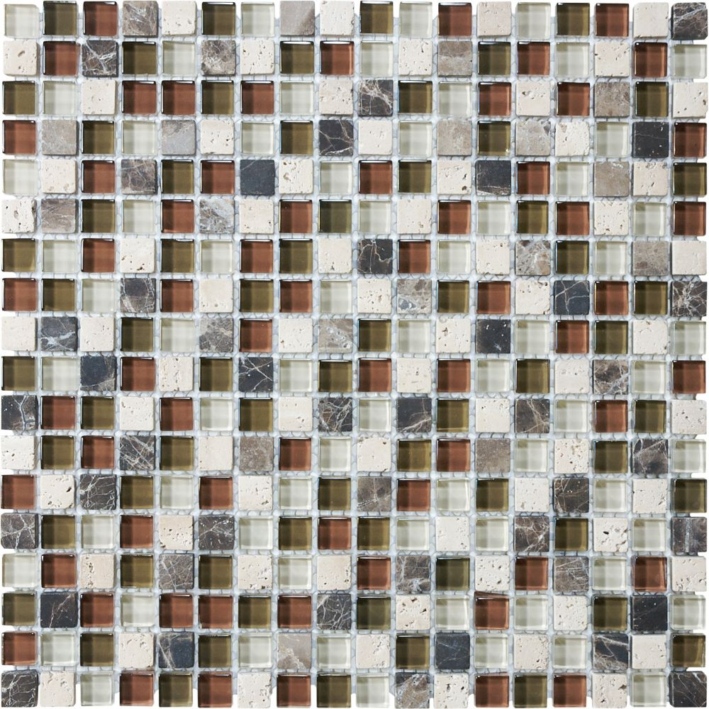 5/8-Inch x 5/8-Inch Glass Stone Blend Mosaic Tile in Cabernet