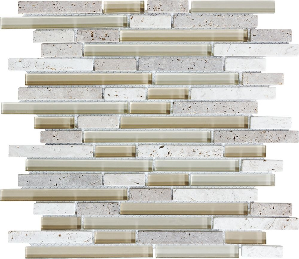Glass Stone Linear Blend Mosaic Tile in Crème Brulee