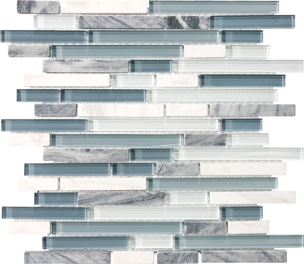 Waterfall Glass Stone Linear Blend Mosaic Tile