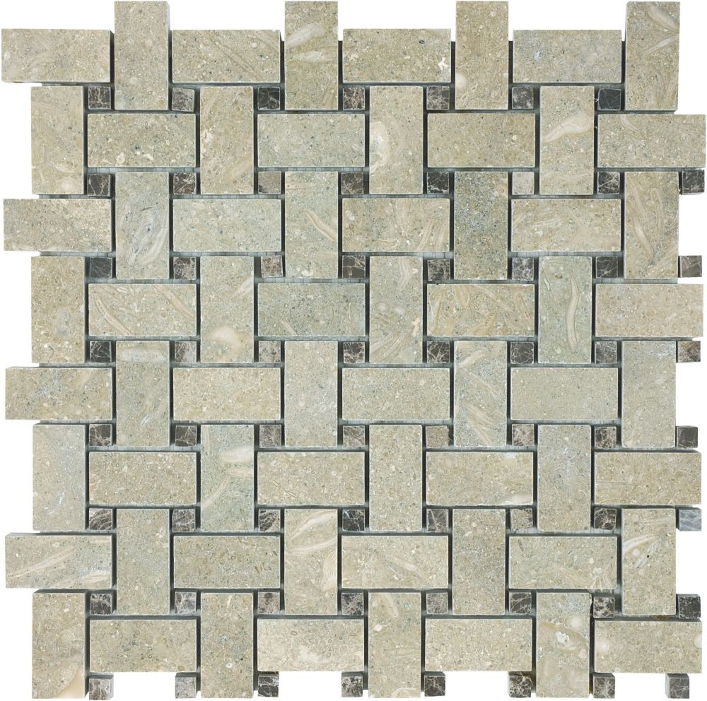 Honed Basketweave Mosaic Tile in Seagrass